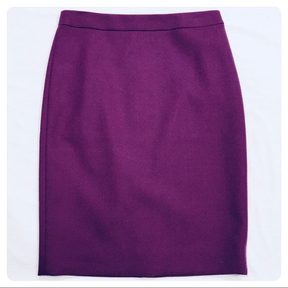 b09ef0c66f J. Crew Skirts | Nwt J Crew Pencil Skirt Double Serge Wool Purple ...